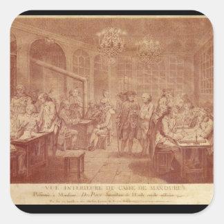 Interior del café Manouri, c.1775 Pegatina Cuadrada