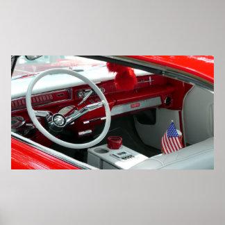 Interior del coche de los años 60 del vintage póster