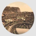 Interior del Colosseum, Roma, Italia Pegatina Redonda