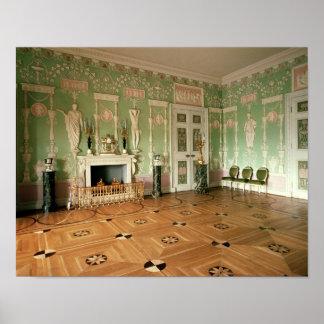 Interior del comedor verde poster