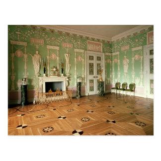 Interior del comedor verde tarjetas postales