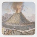 Interior del cono de Vesuvio antes de la E 1767 Calcomanías Cuadradas