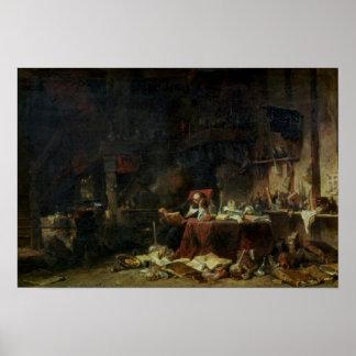 Interior del estudio de un alquimista póster