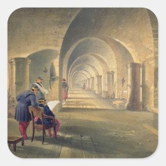 Interior del fuerte Nicholas, placa 'de Seat de Pegatina Cuadrada