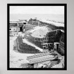Interior del fuerte Sumter con Gabions 1865 Posters