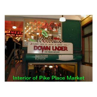 Interior del mercado de lugar de Pike Seattle, Tarjetas Postales