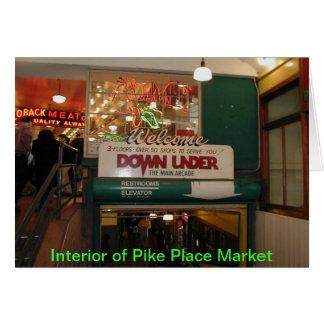 Interior del mercado de lugar de Pike Seattle, WA Tarjeta De Felicitación