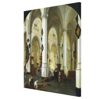 Interior del Oude Kerk en Delft Impresión De Lienzo