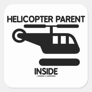 Interior del padre del helicóptero (muestra) pegatina cuadrada