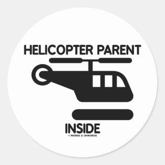 Interior del padre del helicóptero (muestra) pegatina redonda