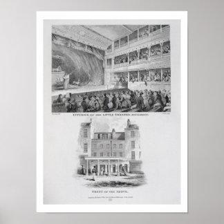 Interior del pequeño teatro, Haymarket en Londo Poster