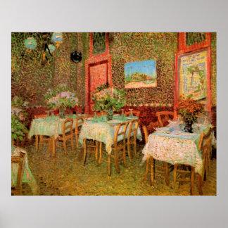 Interior del restaurante, bella arte de Van Gogh