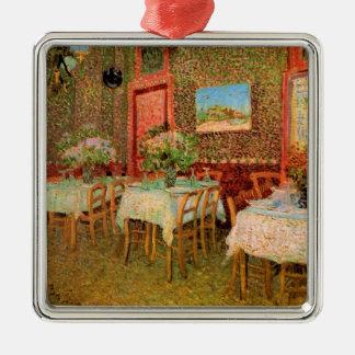Interior del restaurante, bella arte de Van Gogh Adorno Navideño Cuadrado De Metal