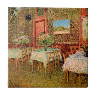 Interior del restaurante, bella arte de Van Gogh Azulejo Cuadrado Pequeño