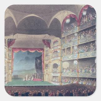 Interior del teatro del carril de Drury, 1808 Pegatina Cuadrada