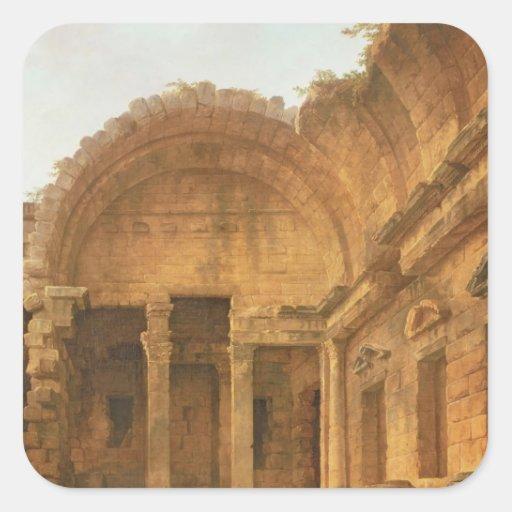 Interior del templo de Diana en Nimes, 1787 Pegatinas Cuadradases Personalizadas