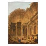 Interior del templo de Diana en Nimes, 1787 Tarjetón