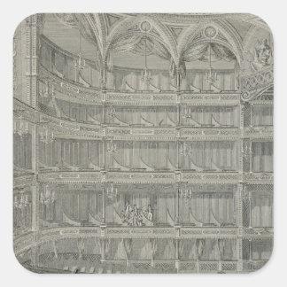 Interior del último teatro real, carril de Drury, Pegatina Cuadrada