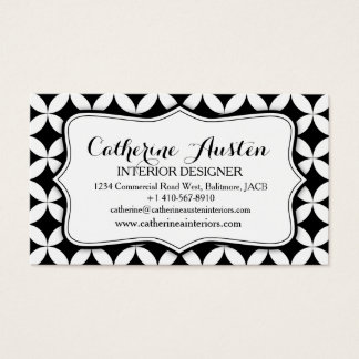 Interior design business circular black white mono business card