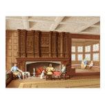 Interior Design Elizabethan Fireplace Vintage 1800 Postcard