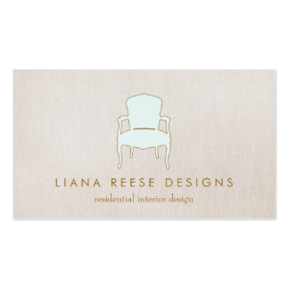 Interior Design  French Chair Logo FAUX Linen Business Card Templates