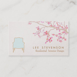interior design french chair staging decorator business card - Interior Design Business Cards