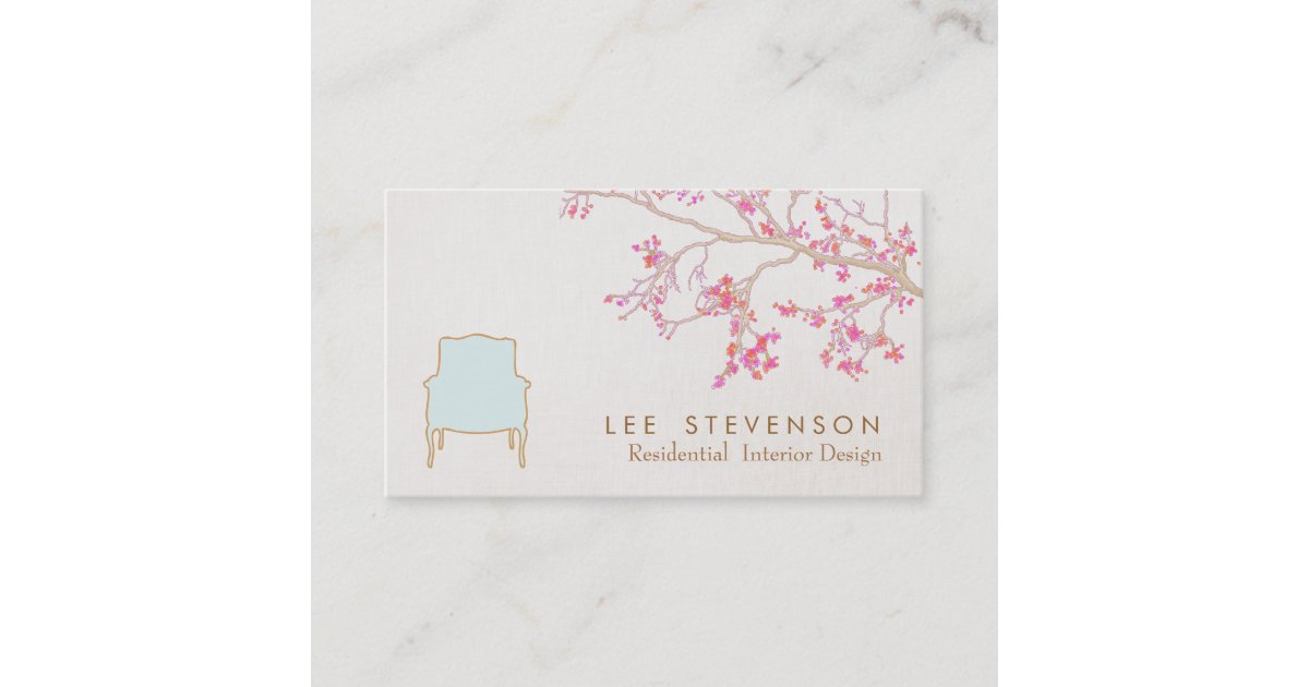 Interior Design French Chair Staging Decorator Business Card ...