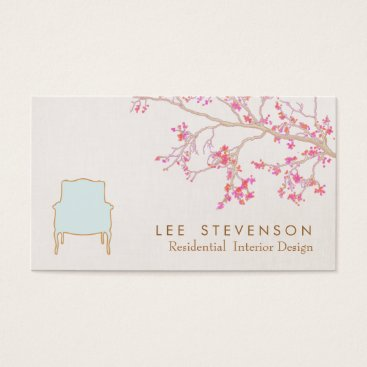 Interior Design French Chair Staging Decorator Business Card