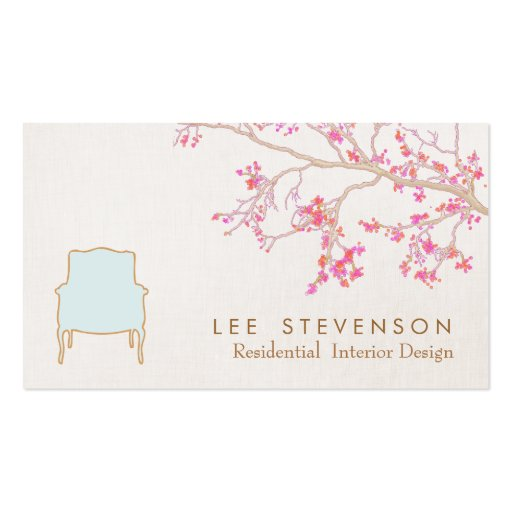 Interior Design French Chair Staging Decorator Business Card Template