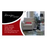 Interior Design Staging Modern Business Card Red
