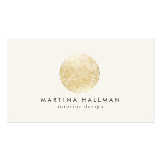 Interior Designer Abstract Gold Circle Logo Double-Sided Standard Business Cards (Pack Of 100)