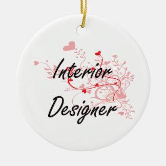 Interior Designer Artistic Job Design with Hearts Ceramic Ornament