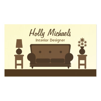 Interior Designer - Brown Living Room Business Card Templates