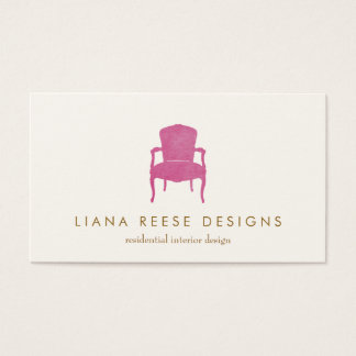 Interior Designer Burgundy French Chair Logo Business Card