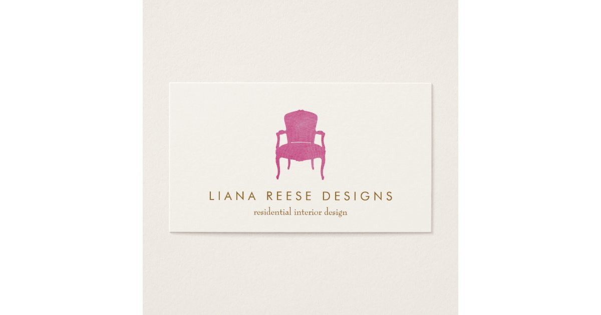Interior Designer Burgundy French Chair Logo Business Card ...