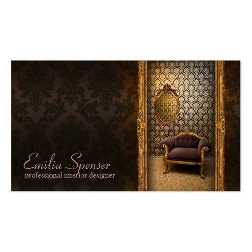 Interior Designer Classic Style Chocolate Card Business Card Template