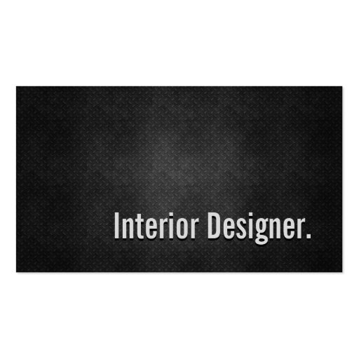 Interior Designer Cool Black Metal Simplicity Business Card Templates