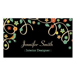 Interior Designer - Elegant Swirl Floral Double-Sided Standard Business Cards (Pack Of 100)