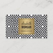 Interior Designer - Luxury Gold Black Geometric Business Card