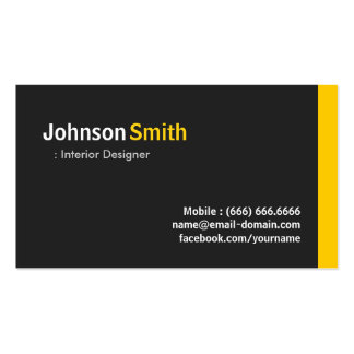 Interior Designer - Modern Minimalist Amber Double-Sided Standard Business Cards (Pack Of 100)