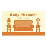 Interior Designer - Orange Living Room Business Card Templates