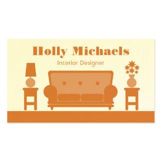 Interior Designer - Orange Living Room Business Card