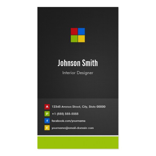 Interior Designer - Premium Creative Colorful Double-Sided Standard Business Cards (Pack Of 100)