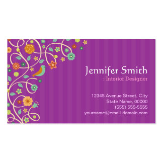 Interior Designer - Purple Nature Theme Double-Sided Standard Business Cards (Pack Of 100)