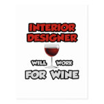 Interior Designer ... Will Work For Wine Postcard