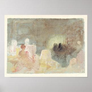 Interior en Petworth con una mujer asentada, 1830 Póster