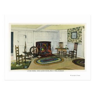 Interior Living Room View of the John Alden Postcard