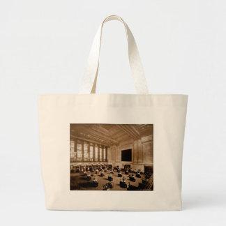 Interior New York Stock Exchange Manhattan Sepia Large Tote Bag