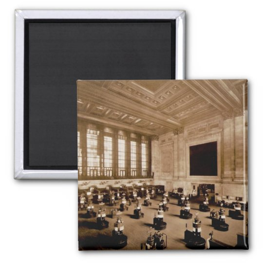 Interior New York Stock Exchange Manhattan Sepia Magnet