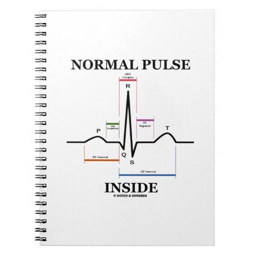 Interior normal del pulso (electrocardiograma de libros de apuntes con espiral
